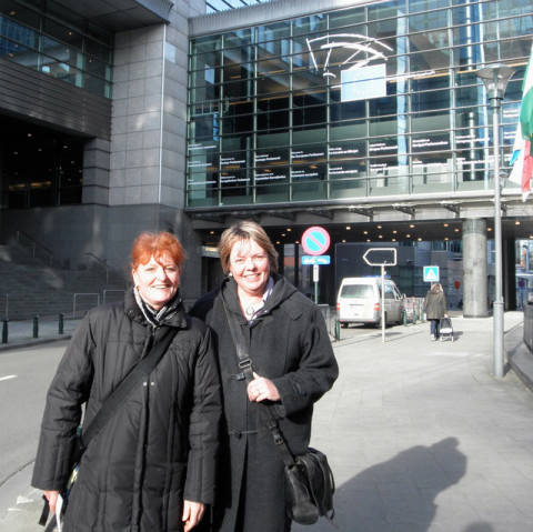 Project Coordinators Christiane Lensch and Christine Halas at EU Kick-Off in Brussels