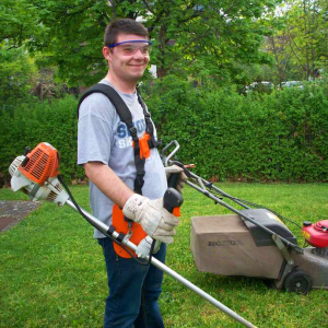 photo of traineee participant doing garden work