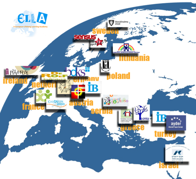 map of europe including turkey and israel with all the member organisations listed on it: the countries are from right to left israel turkey greece serbia austria france netherlands ireland germany poland lithuania sweden