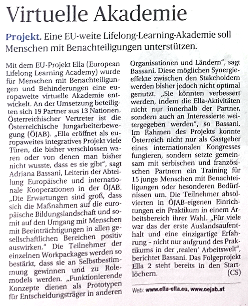 Newspaper article on the ELLA Learning website